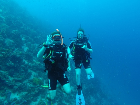 Scuba diving with my best bud, Stev, in Bonaire. One heck of a graduate presentation.
