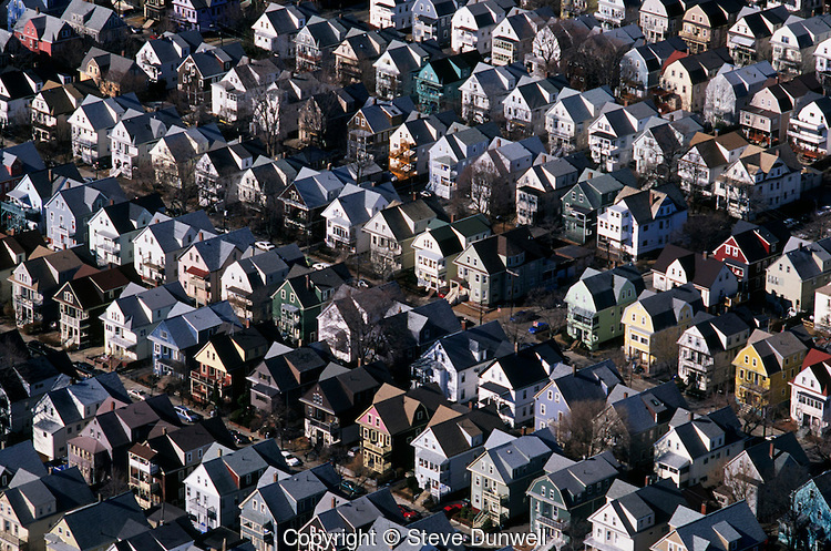 Housing rows, aerial, Somerville, MA2